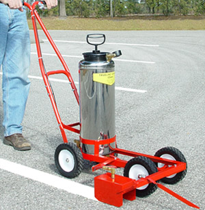 Trusco trueline model 20 pump up parking lot striper for Parking lot painting equipment